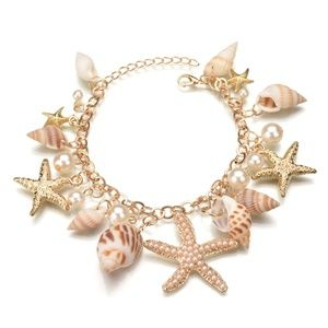 Golden Seashell & Starfish Charm Bracelet